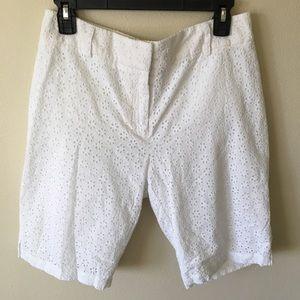 Eyelet lace Bermuda shorts white  by Charter Club